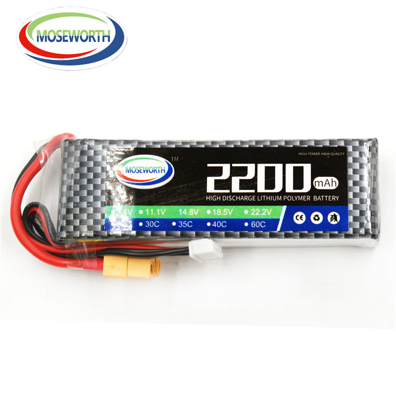 MOSEWORTH 2S RC Lipo Battery 7.4v 2200mAh 30C Max 60C For RC Model Aircraft Helicopter Car Boat Quadcopter 2S 30C