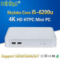 Cheapest mini pc windows 10 6th Gen Skylake Intel core i5-6200u 2.8GHz 4K HTPC barebone computer DDR4 4GB ram HD Graphics 520