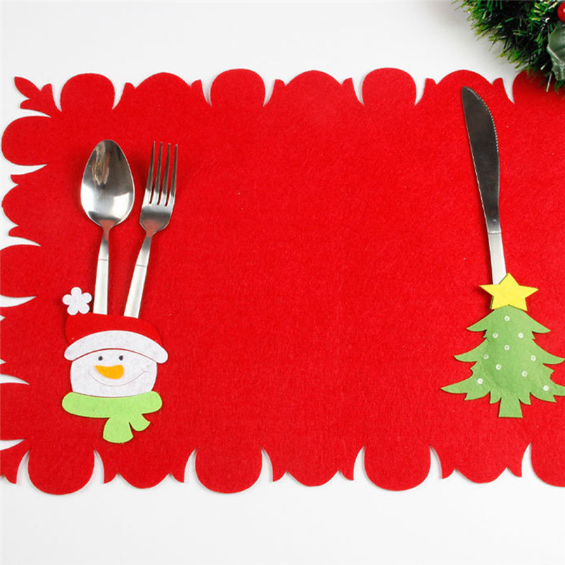 1PC Bowl Fork Placemat Mat Decoration Home Party Christmas Dining Table Wholesale Free S ...