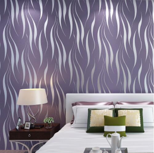 Wave striped 3d flocking wallpaper for bedroom wall decor paper fashion letters and zebra pattern removeable wall stickers for bedroom decor