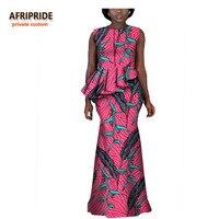 2017 AFRIPRIDE Outono africano mulheres maxi vestido personalizado privada sem mangas em cascata ruffle vestido de festa super plus size A722555