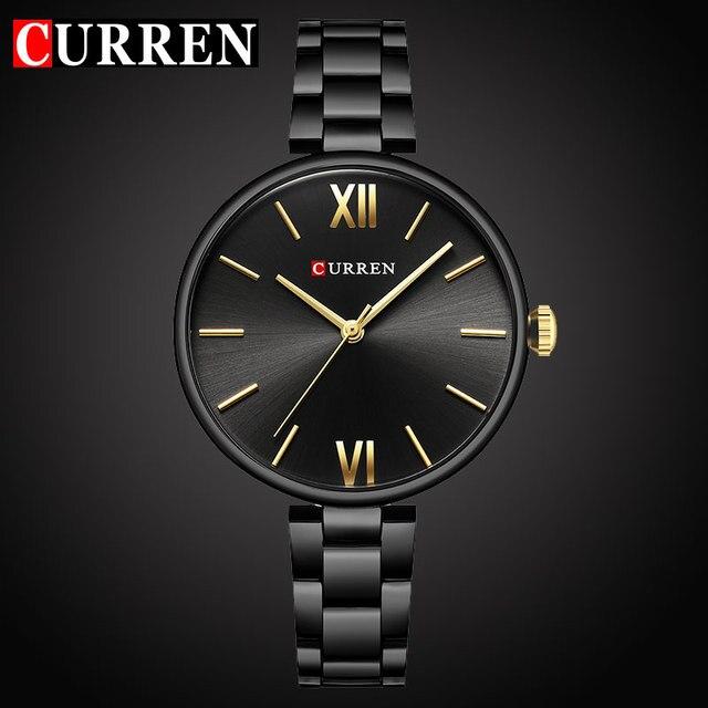 נשים יוקרה מותג העליונים CURREN קוורץ שעון נשי שעון אופנה מקרית גבירותיי מתנות relogio feminino חדש רצועת פלדה אל חלד