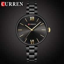Curren relógio de pulso de quartzo, feminino, de luxo, moda casual, pulseira de aço inoxidável, para mulheres, presente