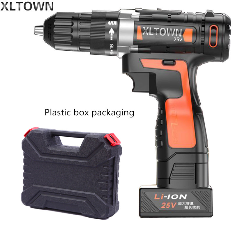 Xltown 25v two-speed lithium battery electric drill with a plastic box Cordless electric screwdrivers power tools free shipping ebike battery 48v 15ah lithium ion battery pack 48v for samsung 30b cells built in 15a bms with 2a charger free shipping duty