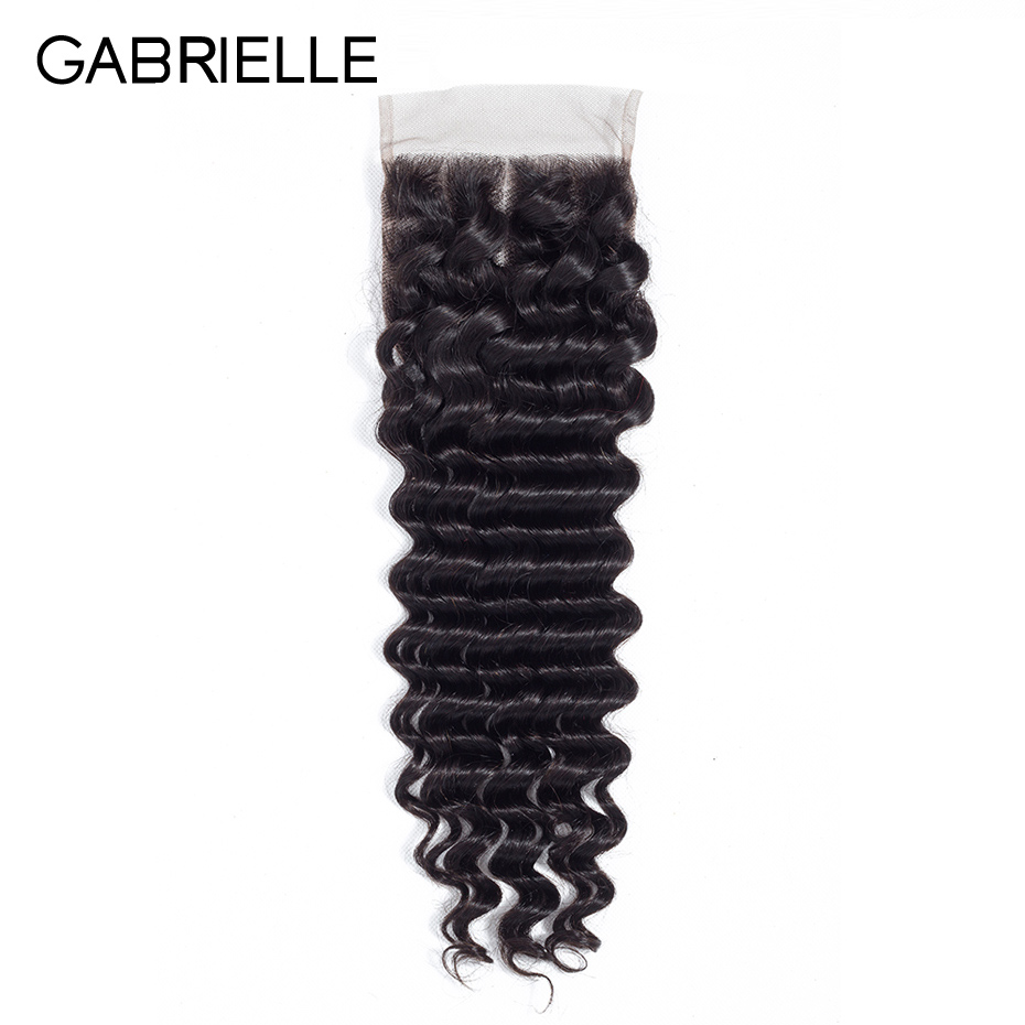 Gabrielle Closure Human-Hair Deep-Wave Lace Swiss Natural-Color Brazilian Free/middle/three-part