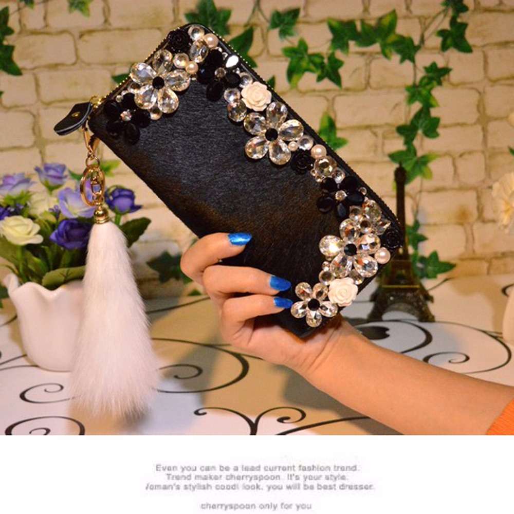 Long-style diamond horse fur wallet brand card holders cellphone pocket gifts for women money bag clutch 852 free shipping 2017 new fashion purse wallet female famous brand card holders cellphone pocket gifts for women money bag clutch