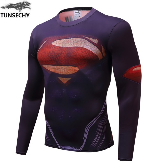 a201600ed Mens Clothing Fitness t shirt 3D Cycling Jersey Superman Captain America  Long Sleeve tights T-Shirt Men Crossfit Compression Cyc