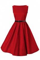 Großhandel auf lager rot kleider baumwolle neuheit retro design frauen kleidung clubwear 3xl vintage für abschlussball-partei