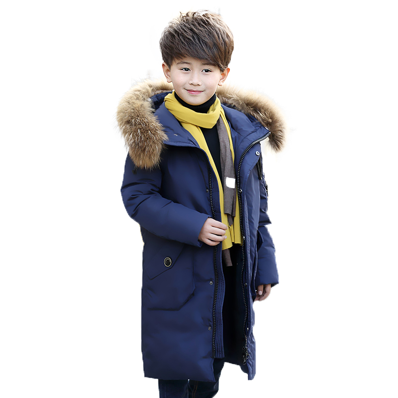 Russia Winter Boys Down Jacket jackets for boys Boy 100% duck down jacket Fur Hooded Jackets / Coats -35 degrees 30# russia winter boys girls down jacket boy girl warm thick duck down