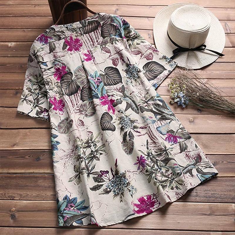 Women Linen Blouse Shirt 2019 Summer Short Sleeve Button Tops Women`s V-Neck Floral Printed Casual Loose Shirts Femme Blusas