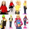 4 jogos/lote novo design handmade clothes doce conjunto terno lazer desgaste do inverno vestido de roupas e acessórios para 1/6 kurhn barbie doll