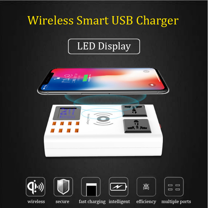 CDA10W chargeur sans fil 8 Port USB 2 prise AC chargeur intelligent affichage de LED prise EU US UK adaptateur de prise de courant chargeur de téléphone portable