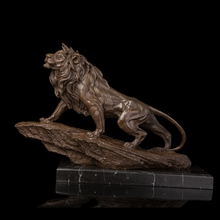 Bronze Sculpture Lion King Formidable Statue Metal Crafts Animals Lions Carving Hotel Decoration