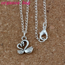 24pcs / lot Ancient silver Alloy swan Charms Pendant Necklaces 18 inches Chains Jewelry DIY A-222d