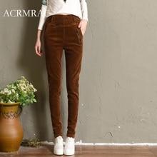 Фотография ACRMRAC Female Corduroy Plus cashmere Elastic waist High waist Pencil pants casual pants