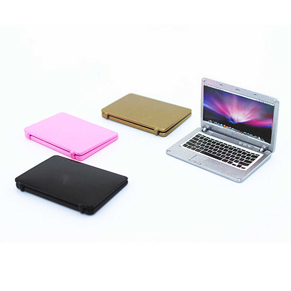 1/12 Dollhouse Miniature Accessories Mini Metal Notebook Computer   Simulation laptop Model Toy for Doll House Decoration