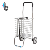 Foldable Shopping Trolley Supermarket Supply Aluminum Alloy Shopping Cart Storage Furniture Two Wheels carrello