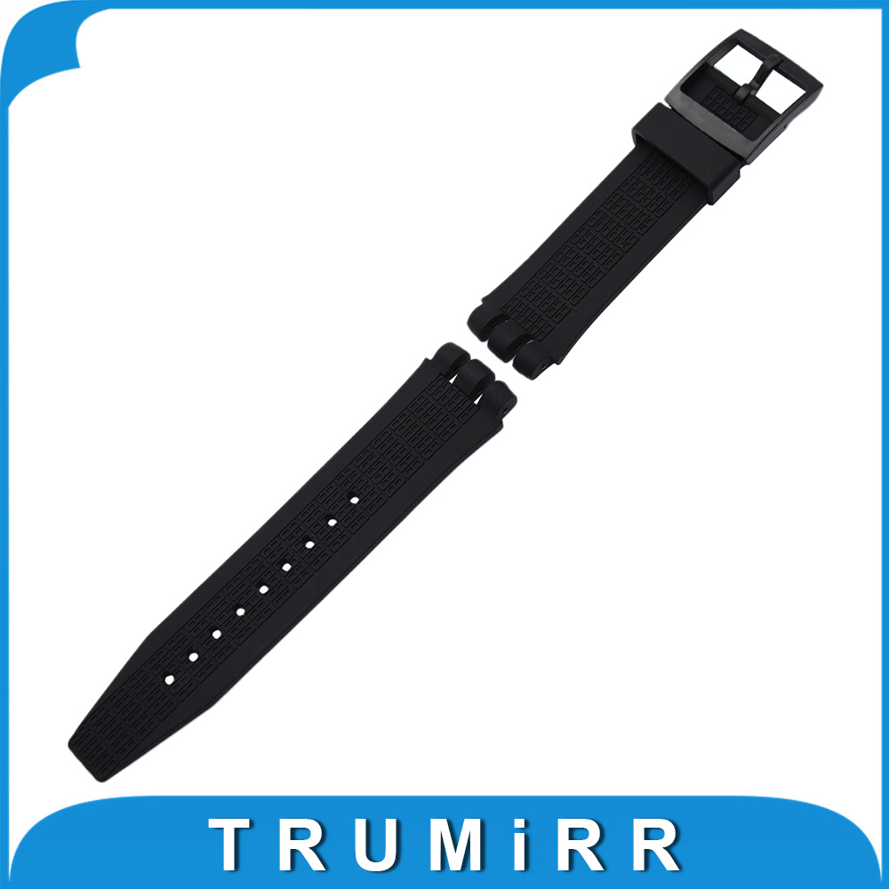 20mm 21mm Silicone Rubber Watchband for Swatch Watch Band Plastic Pin Buckle Strap Wrist Belt Bracelet Black White Transparent top layer cowhide genuine leather watchband for swatch men women watch band wrist strap replacement belt bracelet 17mm 19mm 20mm