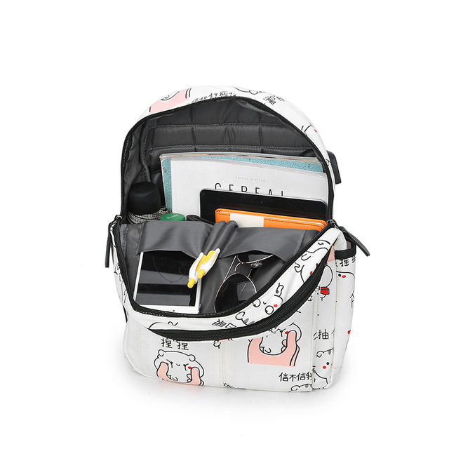 USB Charging Canvas Backpack 3 Pcs/set Women School Backpacks