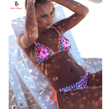 Ariel Sarah Bandage Bikini Floral Swimsuit Sexy Swimwear Women 2018 Halter Girl Bikini Set Bathing Suit Beach Wear Monokini