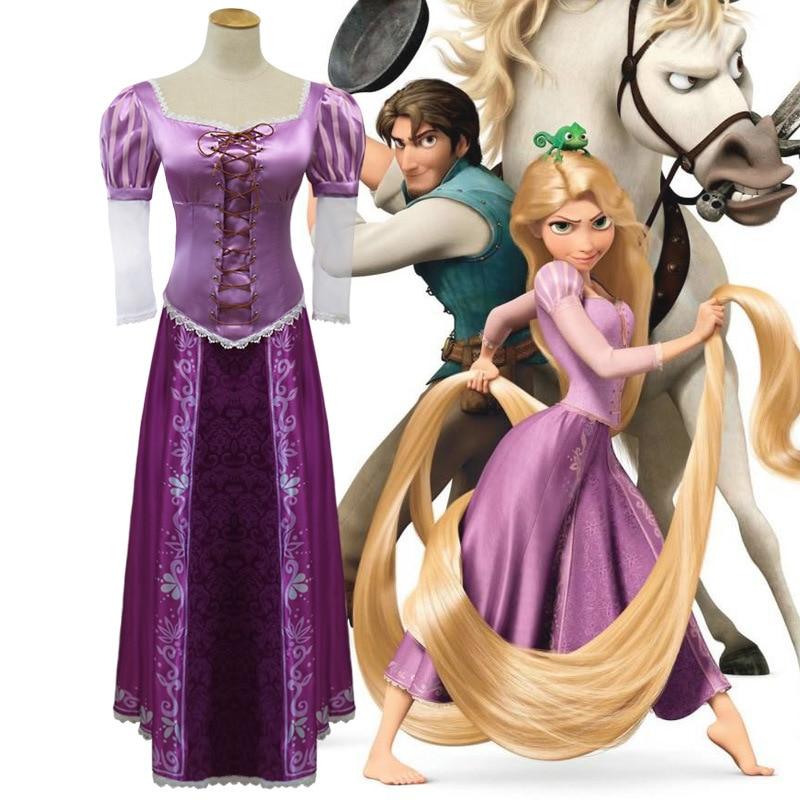 2018 Halloween Party  Adult Rapunzel Cosplay Purple Dress Costume Women Tangled Rapunzel Princess Fancy Dresses Free Shipping