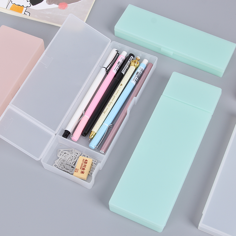 Muji Style Transparent Scrub Pencil Case Pencil Box Plastic Storage Box Learning Stationery Office Supplies