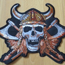 Shouting Skeleton with Two ax Viking 9 inches large Embroidery Patches for Jacke