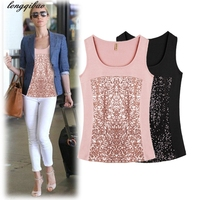 Spring And Autumn Sequins Large Size Sling Fashion Beads Piece Of The Word Sleeveless Slim Cotton