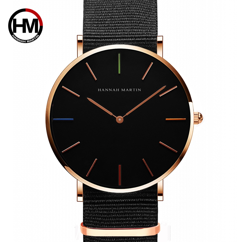 Japan Quartz Movement Men Women Unisex Simple Watch Top Brand Luxury Jewelry Waterproof Black Nylon Sport Fashion Wrist Watches xinboqin nylon fabric quartz watches men women fashion waterproof watch sport thin students canvas unisex wristwatches 3059