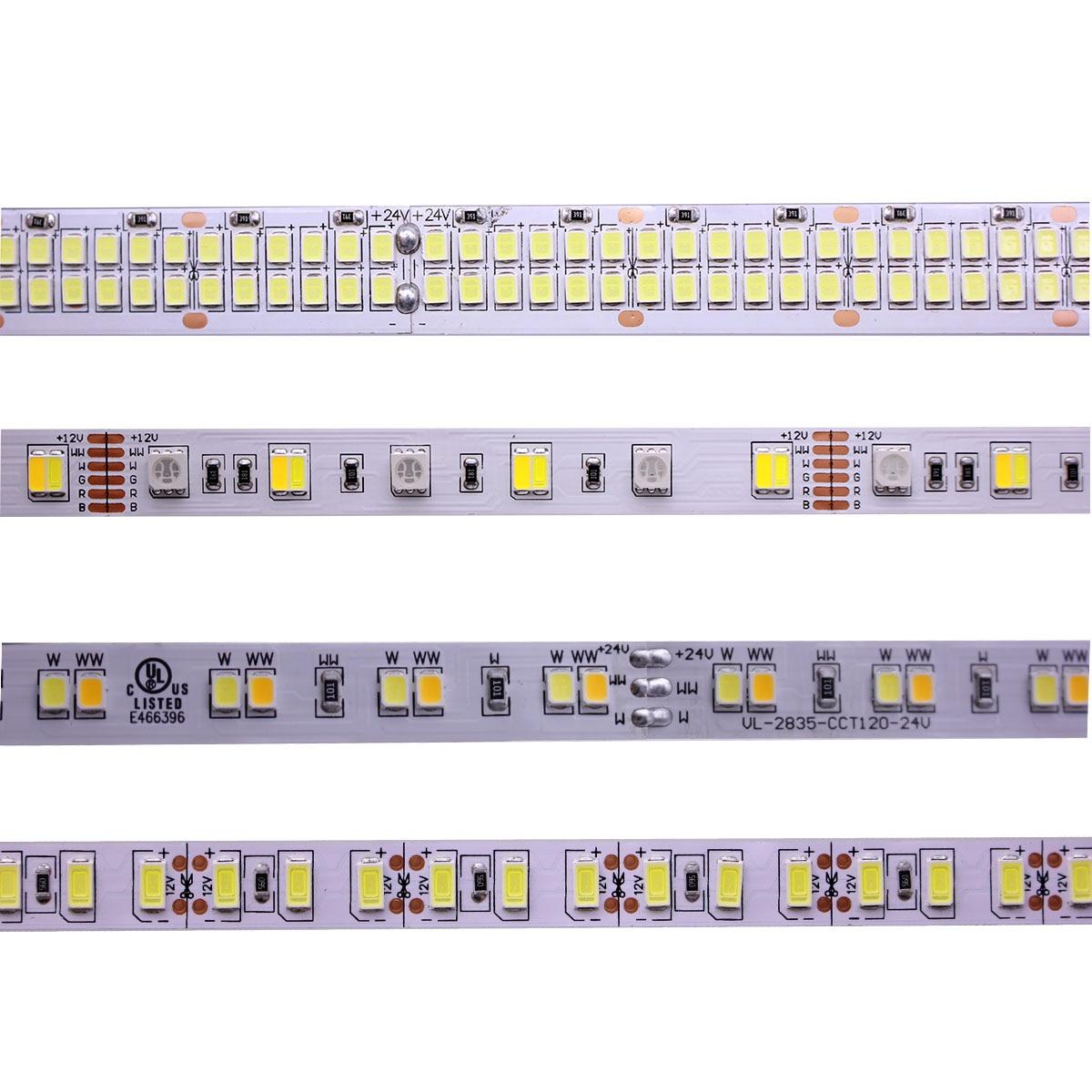 Tira de LED 5M 2835, 5730, 5050, 5054 RGB CCT RGBCCT RGBW RGBWW blanco cálido/60/120/240/480 LED 4in1 12V 24V cinta tiras de luz Flexible
