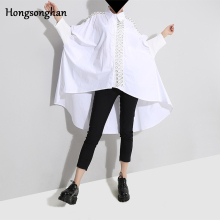 Hongsonghan Women Blouse Shirt Spring Summer Blouses Batwing Sleeve OL Elegant Loose Plus Dovetail White Black Casual