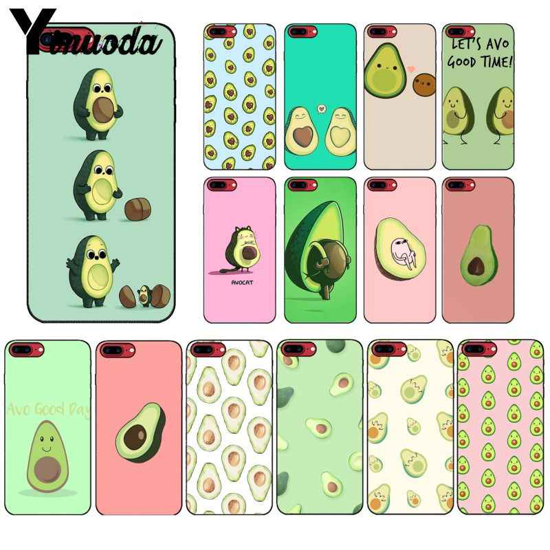Yinuoda Cute cartoon avocado Black TPU Soft Silicone Phone Cover for iPhone X XS MAX 6 6S 7 7plus 8 8Plus 5 5S XR