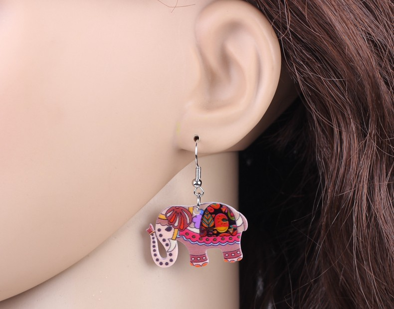Bonsny Drop Acrylic Elephant Earrings