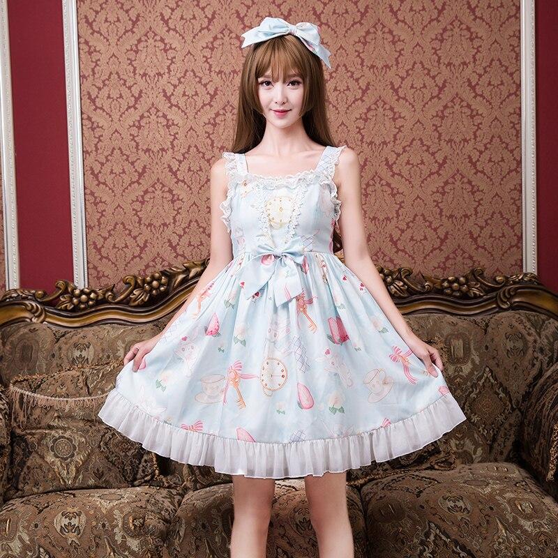 Kadın Giyim'ten Elbiseler'de Prenses tatlı lolita elbise Japon sevimli tavşan elbiseler yaz casual moda öğrenci filiz küçük taze elbise kadın ZJY132'da  Grup 1