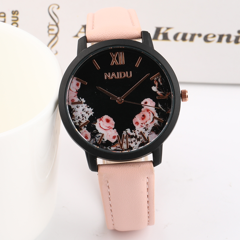 2019 New Selling Fashion Flowers Design Women Watches Large Dial Simple Ladies Watch Leather Strap Quartz Wristwatch Gift Clock