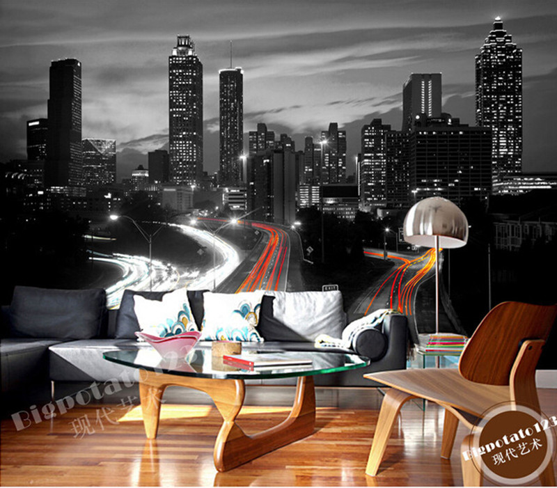 The latest 3D murals, classic black and white series of high-rise buildings, the living room TV sofa bedroom wall paper the latest 3d murals dream of the sun exposure forest trees stone waterfall scenery living room tv sofa bedroom wall paper