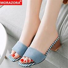 16800fee3 33-46 MORAZORA 2019 grande tamanho mulheres rebanho sandálias de salto  quadrado sapatos de verão moda simples mula sapatos de fe.