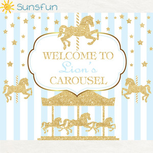 Image 2 - Sunsfun 7x5ft ויניל צילום רקע קרוסלת Unicorn בלון יילוד יום הולדת מסיבת מותאם אישית תמונה רקע 220x150cm