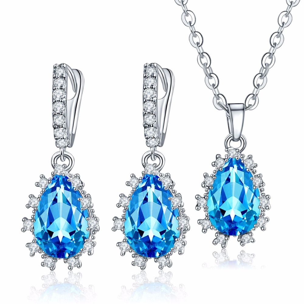 High Quality Blue Jewelry Sets Multicolor Water drop CZ Diamond Platinum Plated Pendant Necklace Earrings Fine