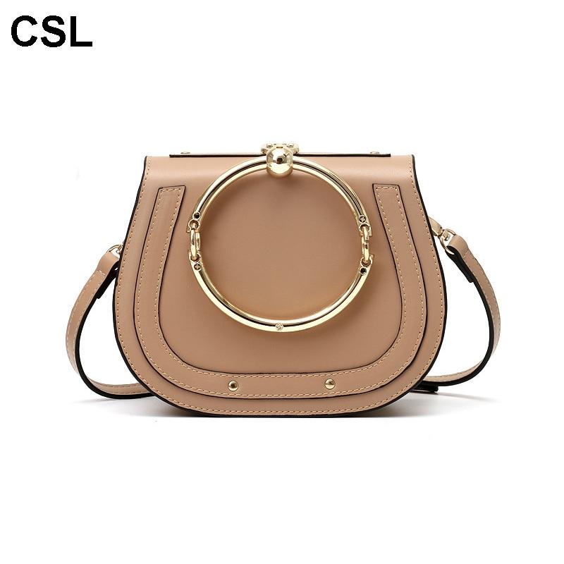 New Luxury Women Handbag Retro Saddle  Metal Ring High quality PU leather Shoulder Bag for ladies crossbody tote pu leather stitching metal ring crossbody bag