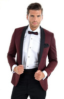 Burgundy With Black Lapel Men's Dinner Party Prom Suits Groom Tuxedos Groomsmen Wedding Blazer Suits (Jacket+Pants+Tie) NO:220