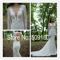 Elegent white lace deep V neck long sleeve back hole customized floor length wedding gown design PX168 wedding dresses