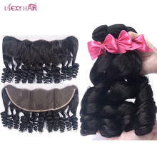 купить!  3 Bundles With Frontal Loose Wave Bundles With Closure Remy Peruvian Human Hair Bundles With Closure Hair Extension