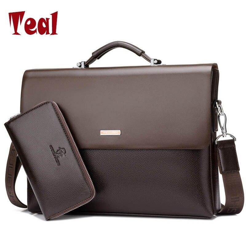 2018 Brand Business Men Briefcase Bag pu Leather Black Luxury Designer Laptop Bag Office Large Capacity Briefcase