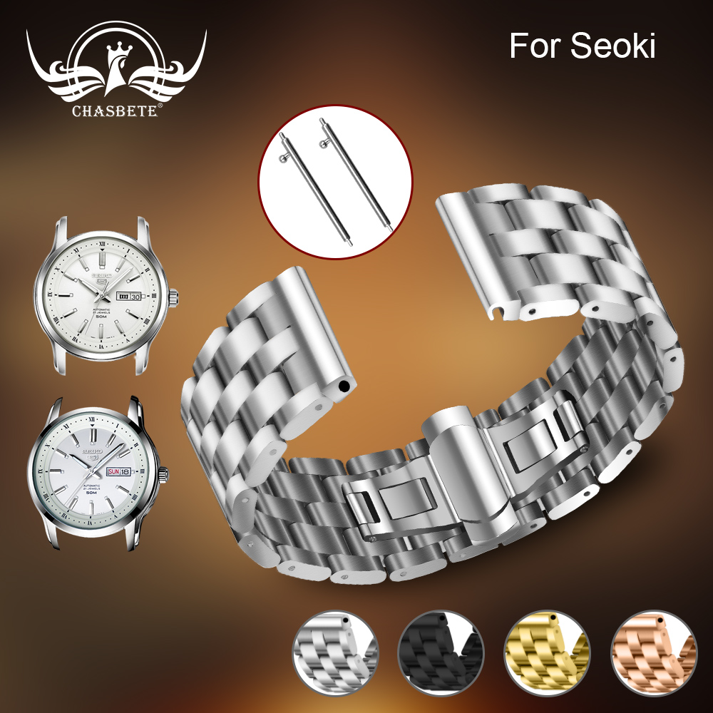 Metal for <font><b>Seiko</b></font> <font><b>Watchband</b></font> <font><b>20mm</b></font> 22mm Silver generalStainless Steel Watches Bands Straps Bracelet For Man Women Wristwatch +tools image