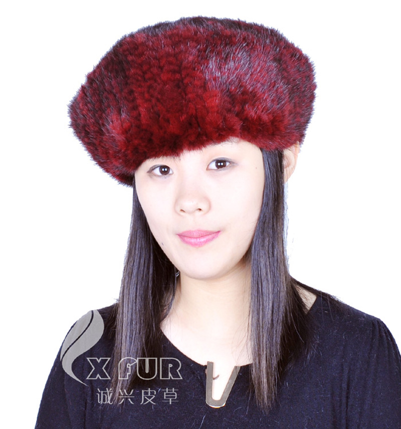 CX-C-97C Women Fashion Hand Knitted Mink Fur Custom Beanie