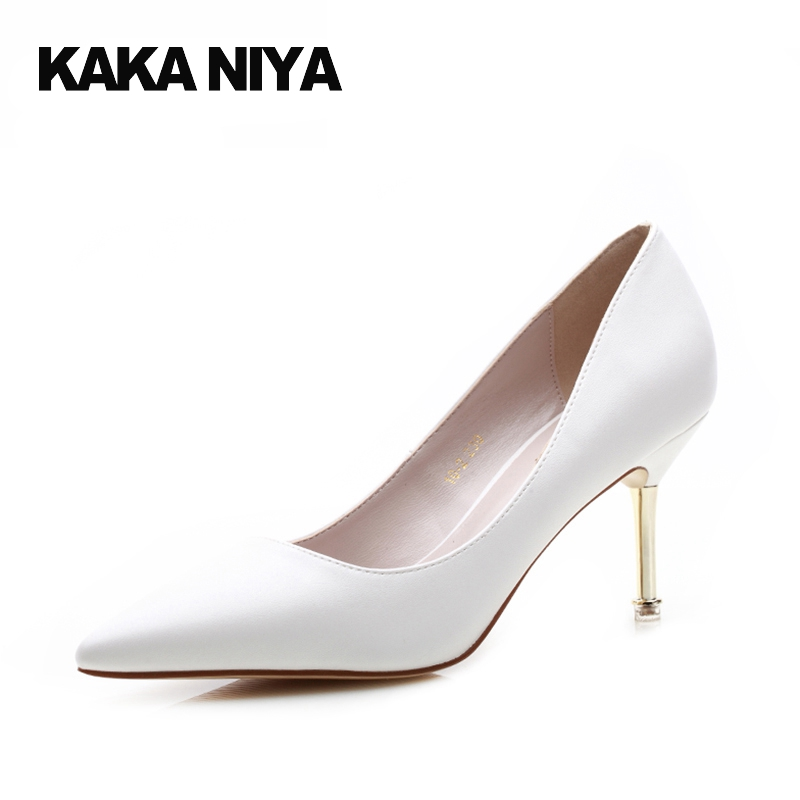 Thin Women Fashion 2017 Summer Shoes Pointed Toe High Heels 4 34 Small Size 7cm 3 Inch White Pumps Court Pumps Autumn Shallow new 2017 spring summer women shoes pointed toe high quality brand fashion womens flats ladies plus size 41 sweet flock t179