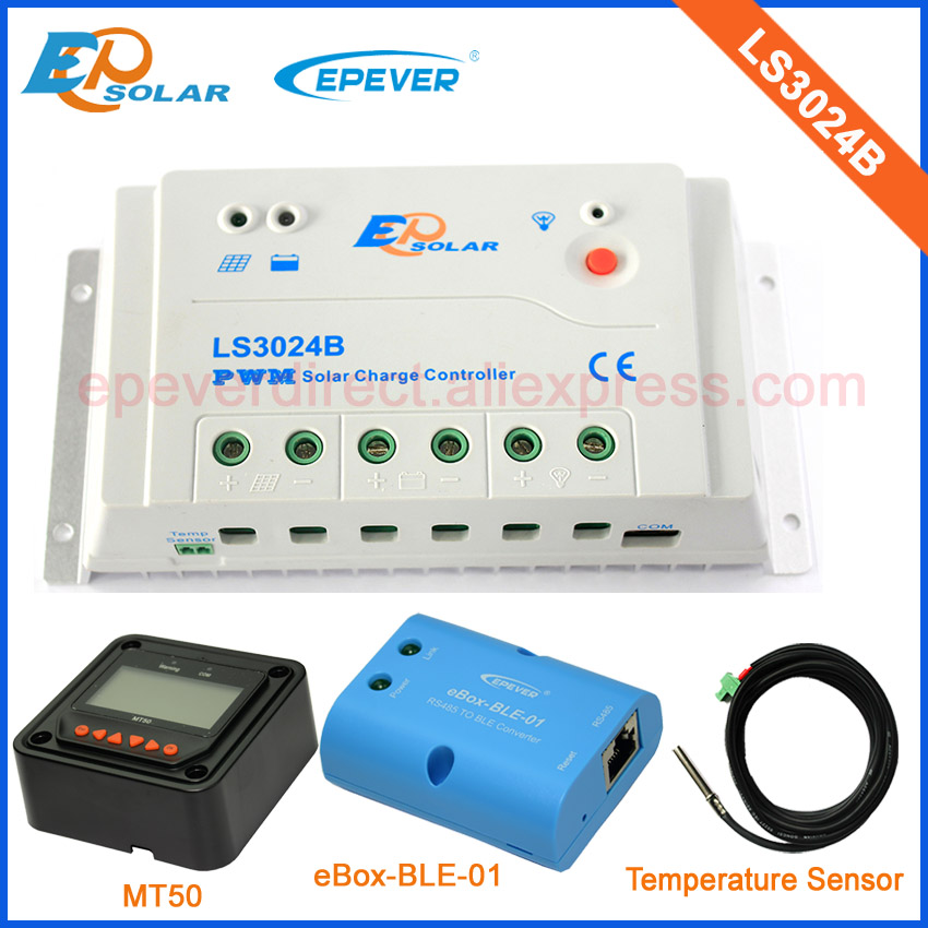 EPsolar solar charger battery controller PWM with black MT50 remote meter and BLE BOX+sensor LS3024B 30A 30amp epsolar pwm solar battery charger controller with white color mt50 remote meter and ble box usb cable ls2024b 20a 20amp