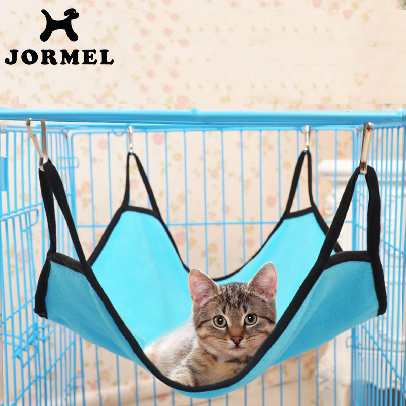 Jormel Durable Kitten Cat Hammock Comfortable Soft Hanging Fleece Pet Cage Hammock Bed Cat Cattery Mat