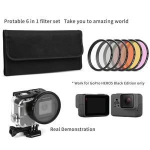 Image 4 - Ateş 6 in 1 58mm/52mm filtre GoPro Hero 7 5 6 4 3 + siyah gümüş su geçirmez kılıf dalış filtresi gitmek için Pro 7 6 aksesuar seti